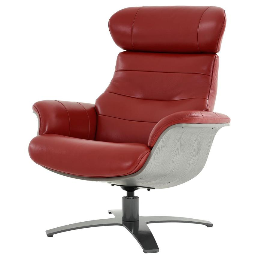 Enzo II Red Leather Swivel Chair  alternate image, 3 of 13 images.