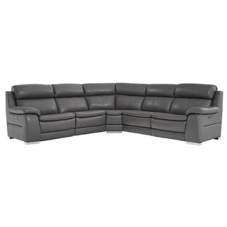 Matteo Gray Power Motion Leather Sofa w/Right & Left Recliners