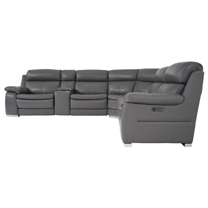 Matteo Gray Leather Power Reclining Sectional  alternate image, 3 of 11 images.