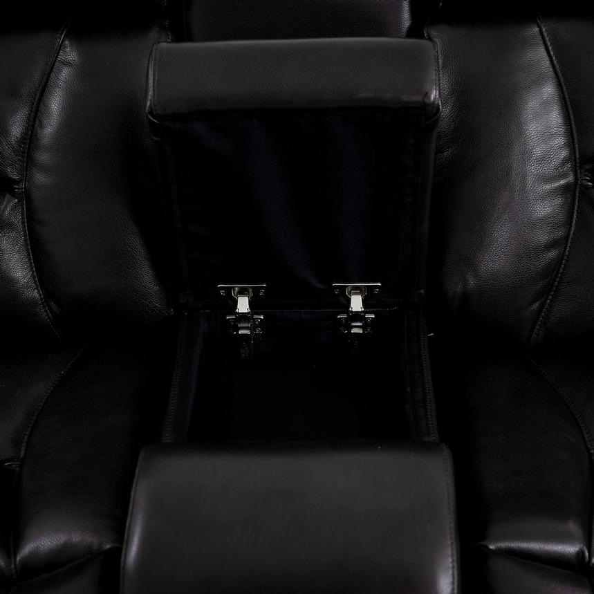 Gio Black Power Motion Leather Sofa w/Console  alternate image, 9 of 13 images.