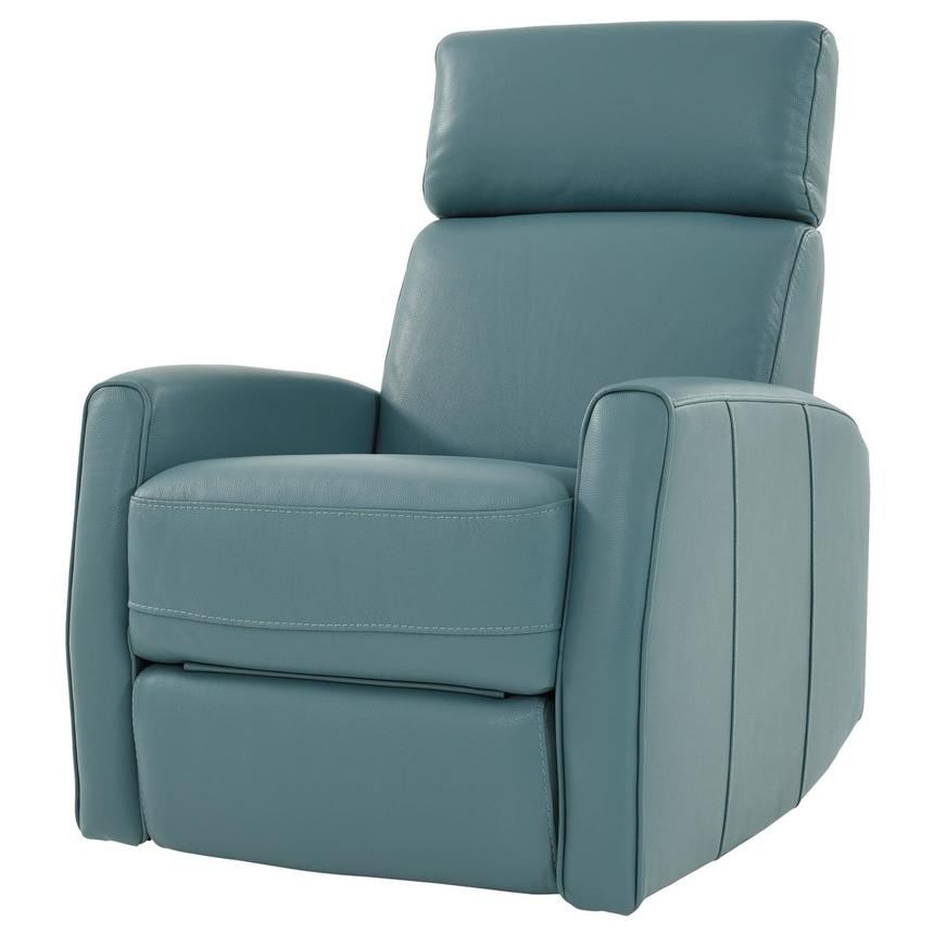 Lucca Blue Leather Power Recliner  alternate image, 2 of 9 images.