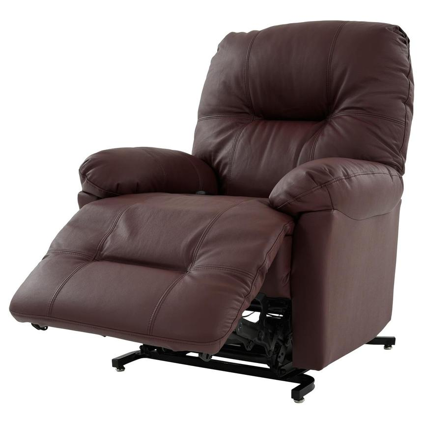 Wynette Burgundy Leather Power Lift Recliner  alternate image, 4 of 9 images.
