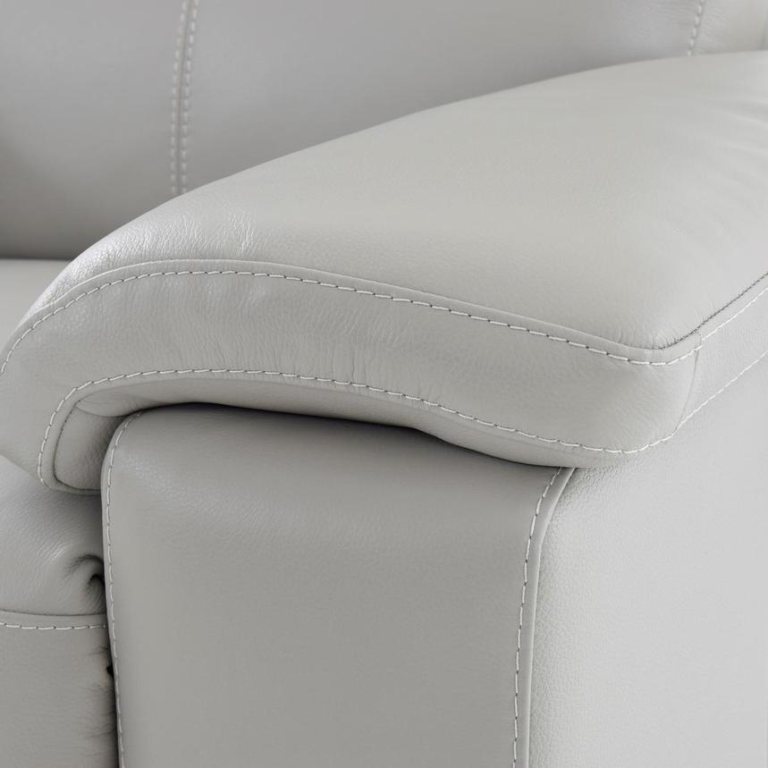 Charlie Light Gray Leather Power Recliner  alternate image, 8 of 11 images.