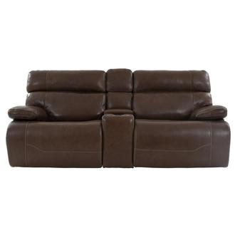Lenier Brown Leather Power Reclining Sofa w/Console