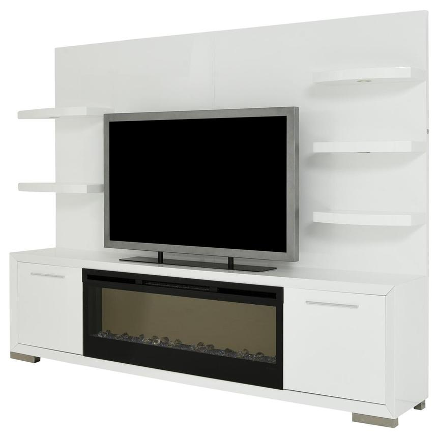 Rialto White Wall Unit w/Faux Fireplace  alternate image, 3 of 10 images.
