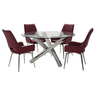 Addison II/Kalia Red 5-Piece Dining Set