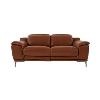 Katherine Tan Leather Power Reclining Loveseat
