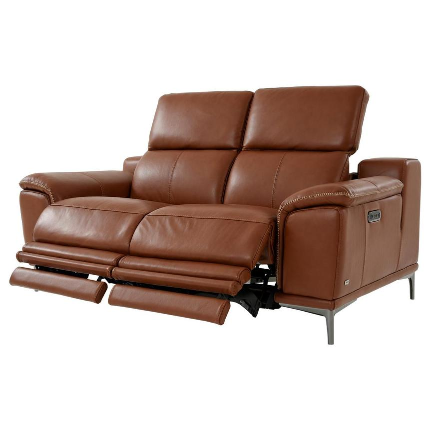 Katherine Tan Leather Power Reclining Loveseat  alternate image, 3 of 10 images.