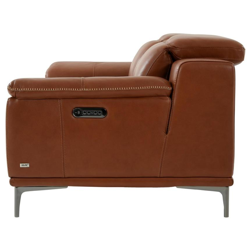 Katherine Tan Leather Power Reclining Loveseat  alternate image, 4 of 12 images.