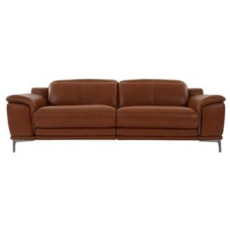 Katherine Tan Leather Power Reclining Sofa