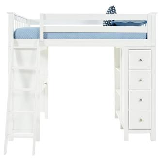 Haus White Twin Loft Bed w/Desk & Chest