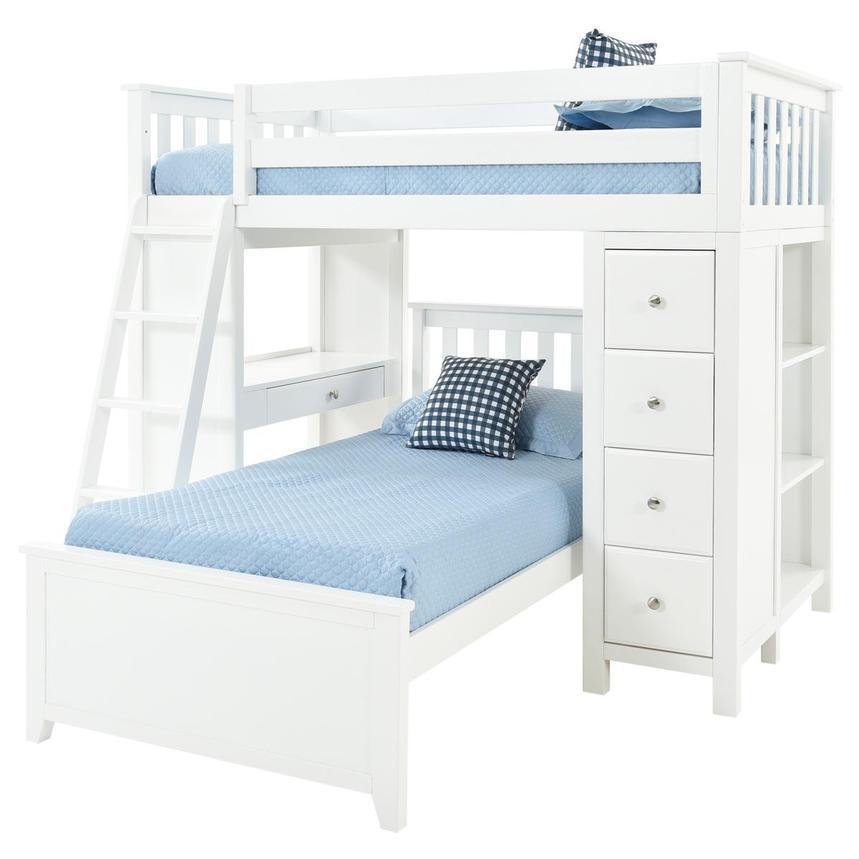 Haus White Twin Over Twin Bunk Bed W Desk Chest El Dorado Furniture
