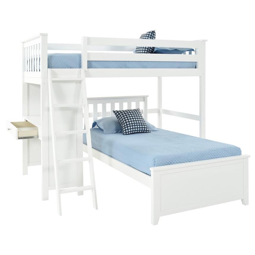 Haus White Twin Over Twin Bunk Bed W Desk El Dorado Furniture