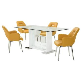 Finley Yellow 5-Piece Dining Set