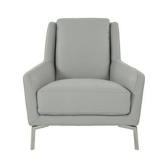 Puella Gray Leather Accent Chair