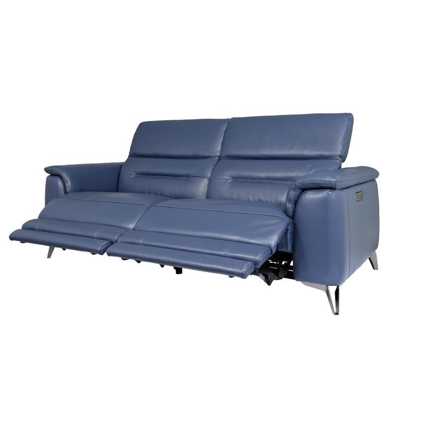 Anabel Blue Leather Power Reclining Sofa  alternate image, 3 of 10 images.
