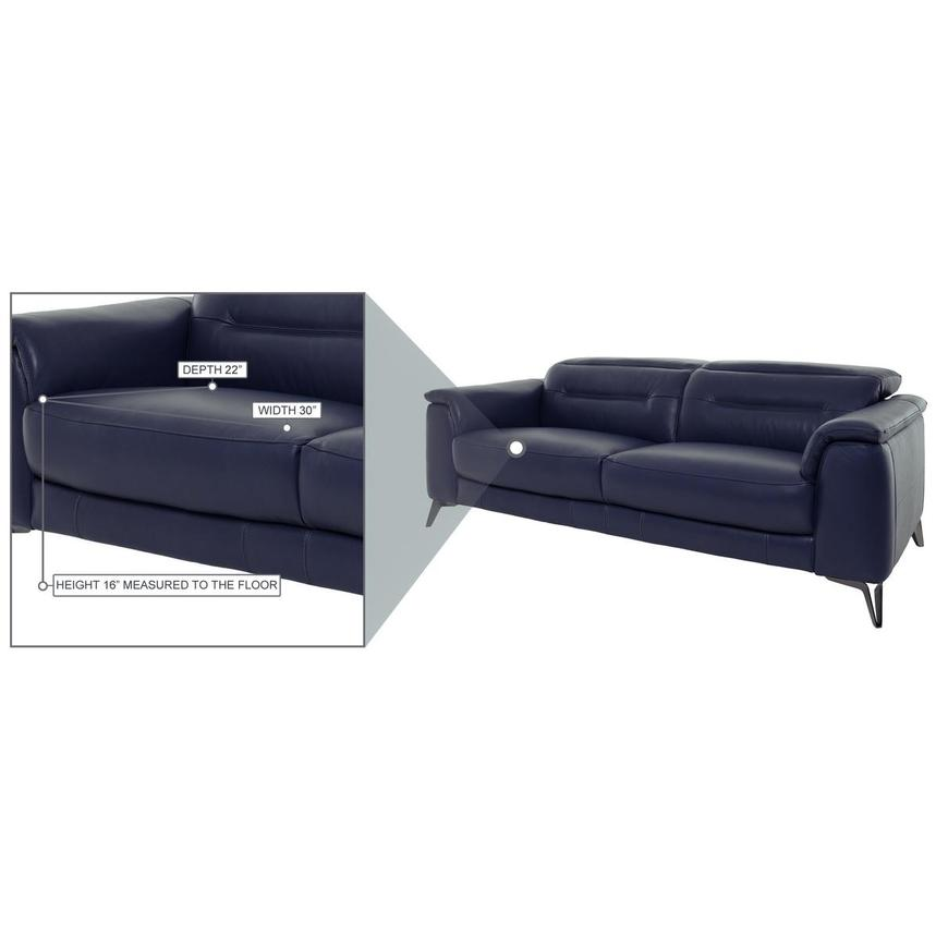 Anabel Blue Leather Power Reclining Sofa  alternate image, 9 of 12 images.