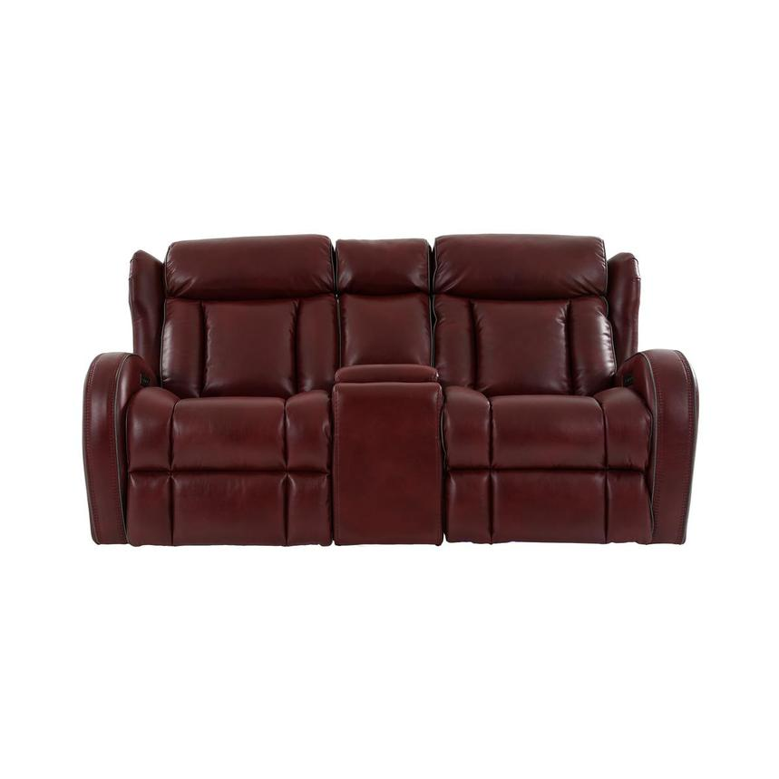 Pronto Red Power Reclining Sofa w/Console  main image, 1 of 12 images.