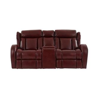 Pronto Red Power Reclining Sofa w/Console