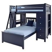 Haus Blue Twin Over Twin Bunk Bed w/Desk & Chest  main image, 1 of 12 images.
