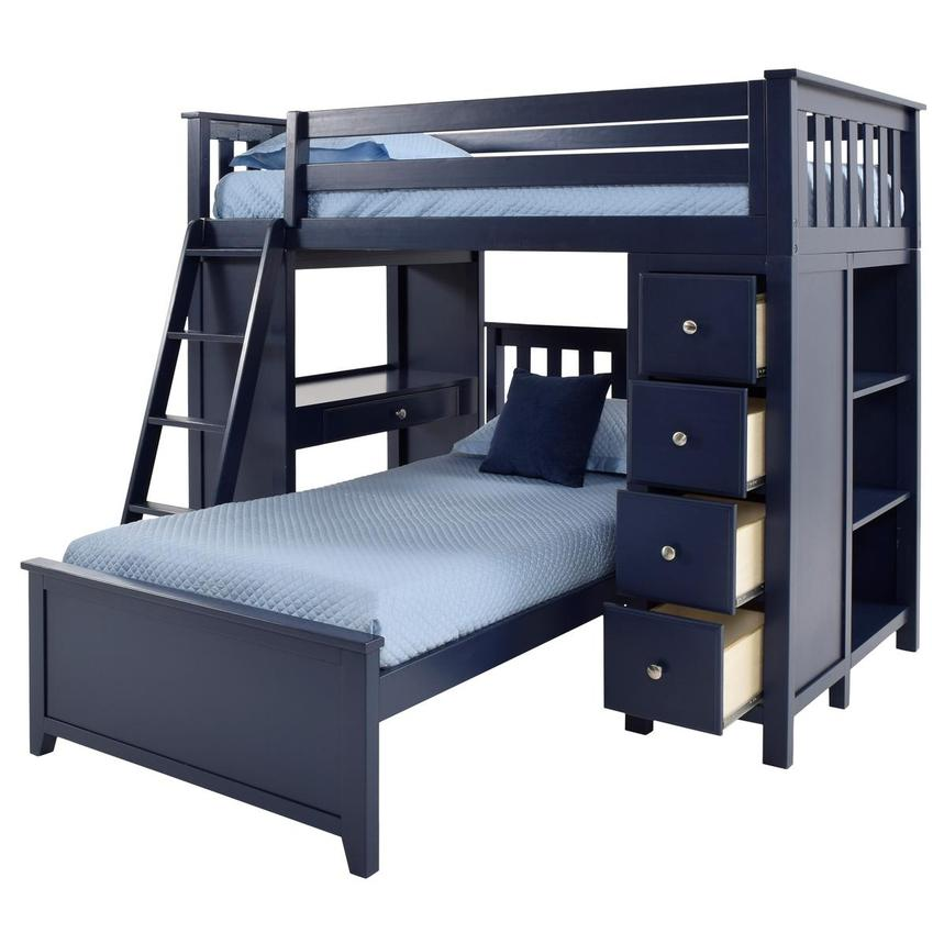 Haus Blue Twin Over Twin Bunk Bed w/Desk & Chest  alternate image, 3 of 12 images.