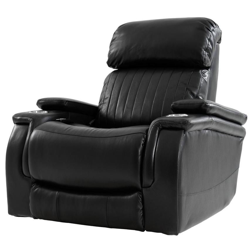 Obsidian Leather Power Recliner w/Massage & Heat  alternate image, 2 of 13 images.