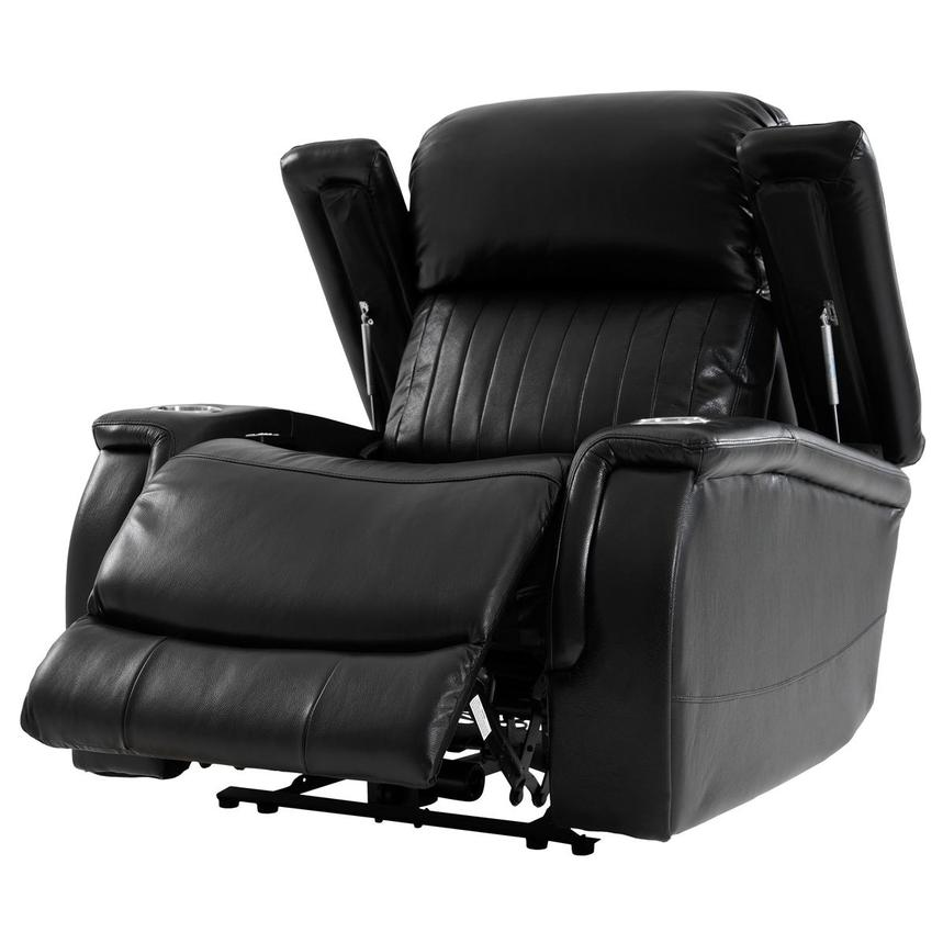 Obsidian Leather Power Recliner W Massage Amp Heat El