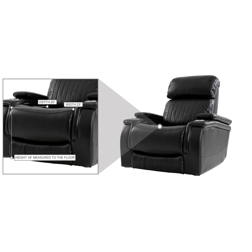 Obsidian Leather Power Recliner w/Massage & Heat  alternate image, 12 of 13 images.