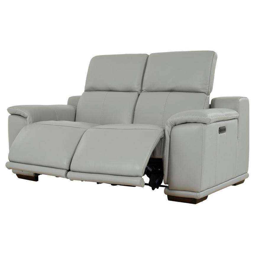 Davis 2.0 Light Gray Leather Power Reclining Loveseat  alternate image, 3 of 10 images.
