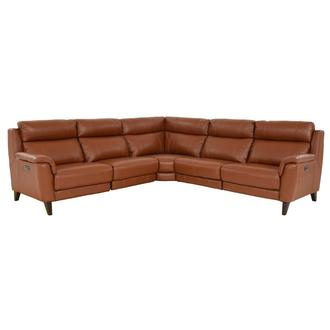 Emmett Tan Leather Power Reclining Sectional