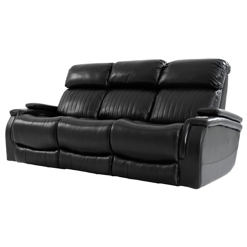 Obsidian Leather Power Reclining Sofa w/Massage & Heat  alternate image, 2 of 16 images.