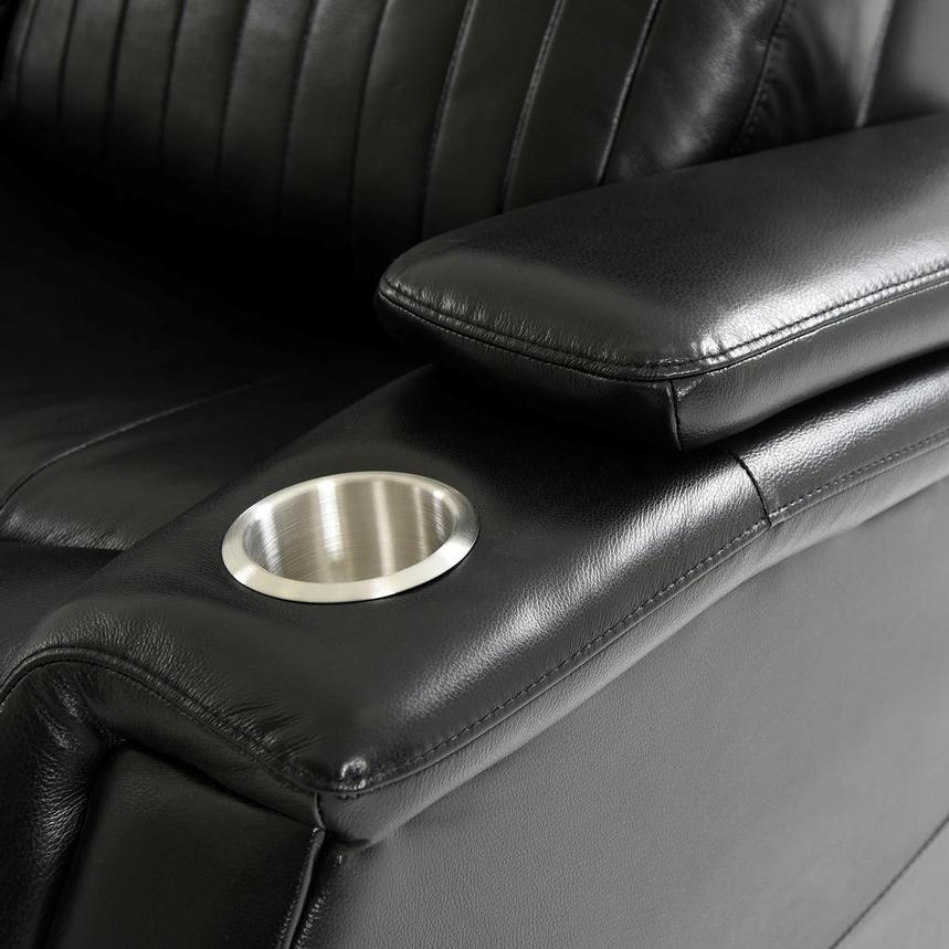 Obsidian Leather Power Reclining Sofa w/Massage & Heat  alternate image, 12 of 16 images.