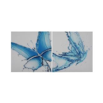 Papillon Bleu Set of 2 Acrylic Wall Art