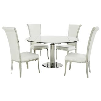Tami Faux Mable/Joy White 5-Piece Dining Set