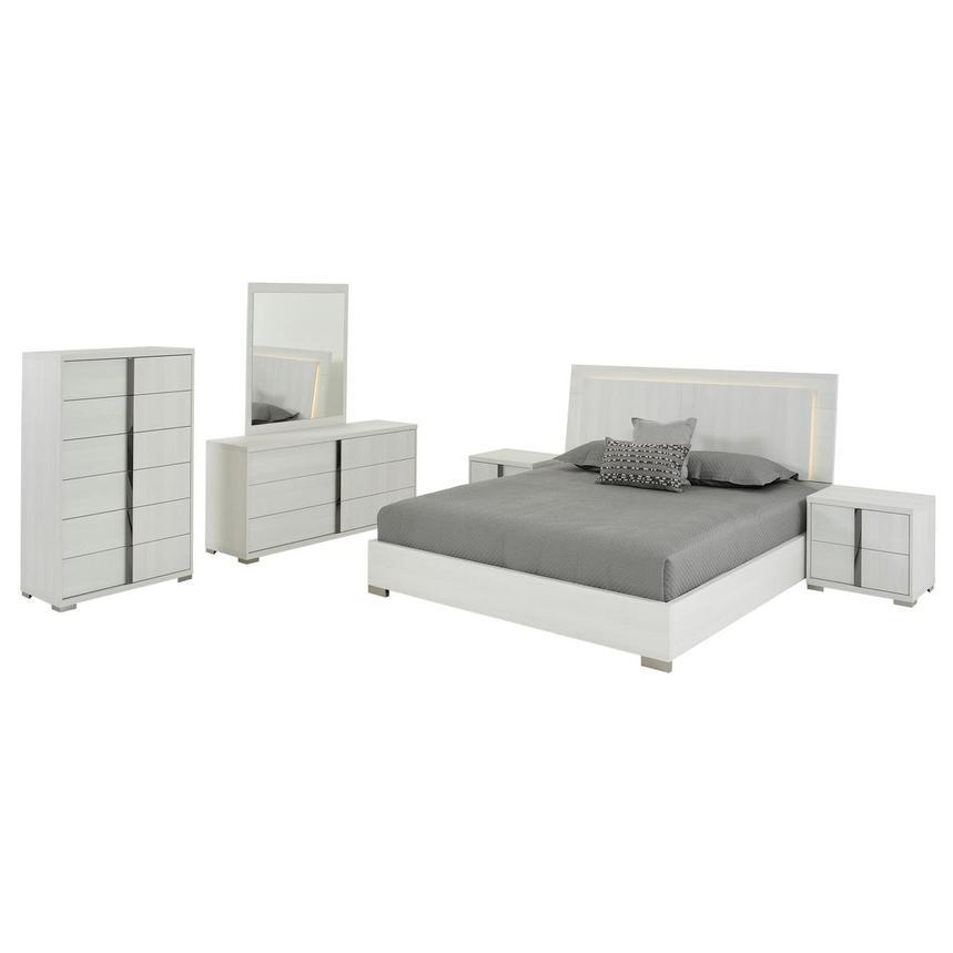 Tivo White 6 Piece King Bedroom Set Made In Italy El Dorado