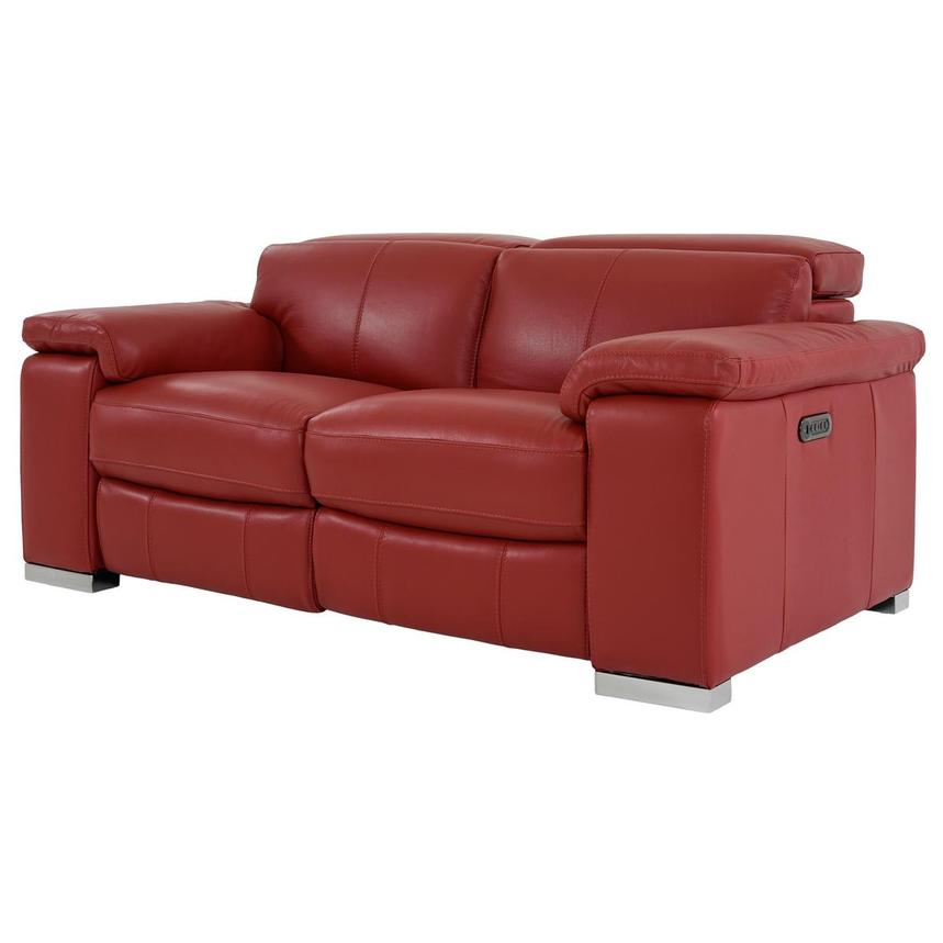 Charlie Red Leather Power Reclining Loveseat  alternate image, 3 of 12 images.