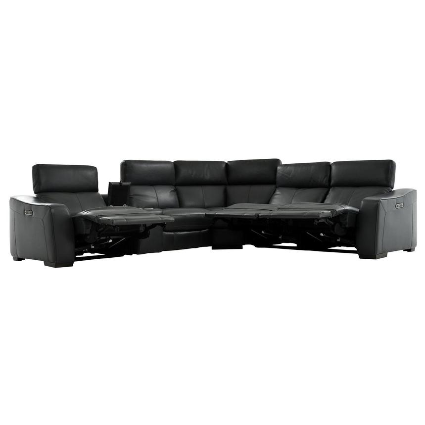Jay Dark Gray Leather Power Reclining Sectional  alternate image, 3 of 10 images.