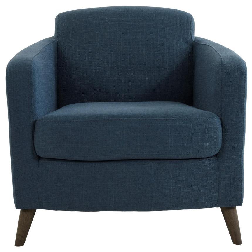 Zitza Lounge Stoel.Haisley Blue Accent Chair W Ottoman El Dorado Furniture