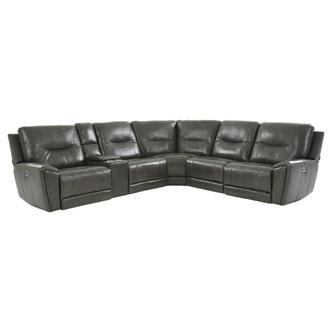London Leather Power Reclining Sectional