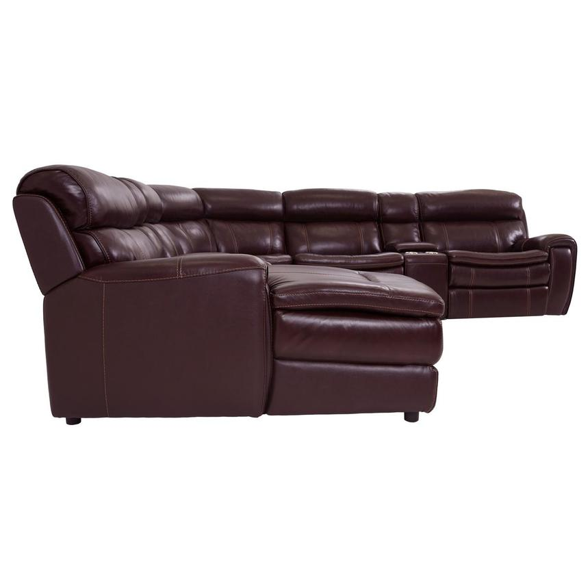 Napa Burgundy Leather Power Reclining Sectional w/Left Chaise  alternate image, 3 of 8 images.