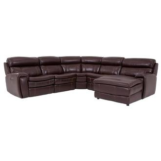Napa Burgundy Leather Power Reclining Sectional w/Right Chaise