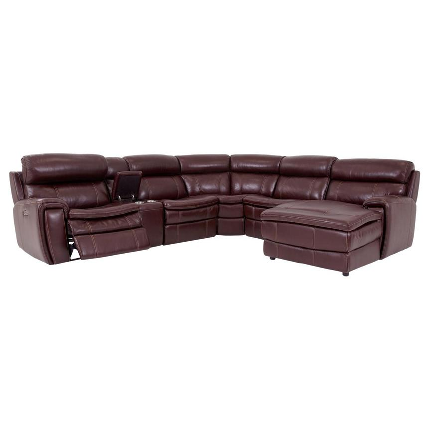 Napa Burgundy Leather Power Reclining Sectional w/Right Chaise  alternate image, 2 of 9 images.