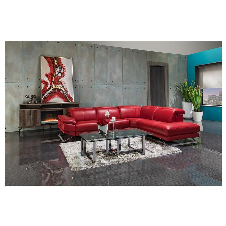 Toronto Red Leather Power Reclining Sofa w/Right Chaise  alternate image, 2 of 13 images.