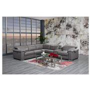 Charlie Gray Leather Power Reclining Sectional  alternate image, 2 of 13 images.