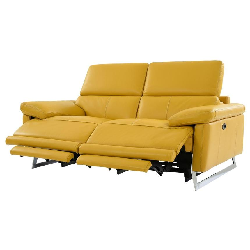 Gabrielle Yellow Leather Power Reclining Loveseat  alternate image, 3 of 10 images.
