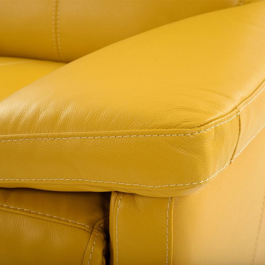 Gabrielle Yellow Leather Power Reclining Loveseat  alternate image, 8 of 10 images.