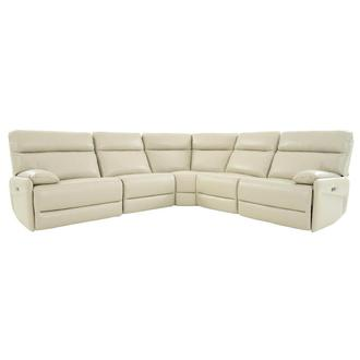 Benz Cream Leather Power Reclining Sectional