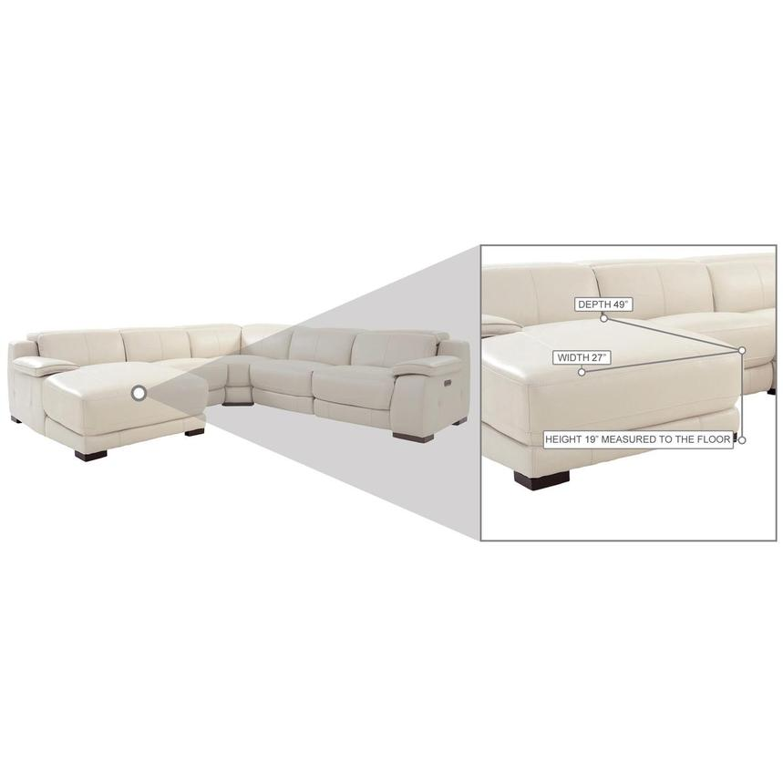 Gian Marco Cream Leather Power Reclining Sectional w/Left Chaise  alternate image, 9 of 10 images.