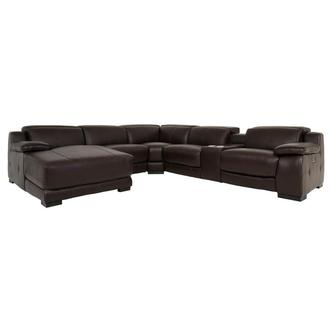 Gian Marco Dark Brown Leather Power Reclining Sectional w/Left Chaise