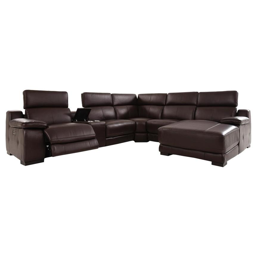 Gian Marco Dark Brown Leather Power Reclining Sectional w/Right Chaise  alternate image, 2 of 9 images.